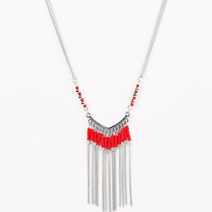 Vintage Paparazzi Silver and Red Fringe Necklace